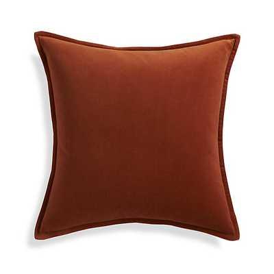 "Brenner Rust Orange 20"" x 20"" Velvet Pillow- Feather/Down-alternative insert - Crate and Barrel"