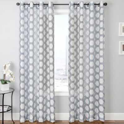 "Taranto Grommet Top Curtain Panel - Blue/White - 84"" - Bed Bath & Beyond"