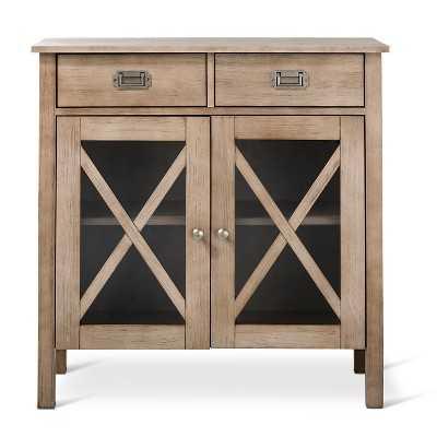 "Rustic ""X"" Two Door Cabinet - Weathered Wood - Thresholdâ""¢ - Target"
