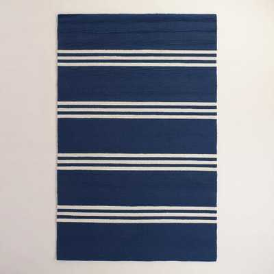 Maritime Blue Hooked Area Rug - 8' x 10' - World Market/Cost Plus
