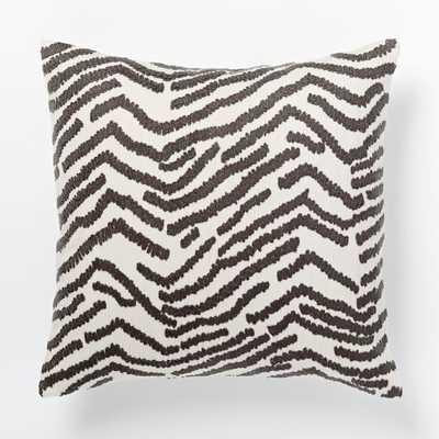 Tiger Crewel Pillow Cover - Slate/Ivory - West Elm