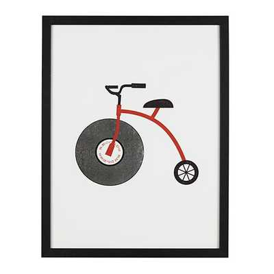 """Album Tricycle Wall Art- 20.75""""Wx26.75""""H- Black frame without mat - Land of Nod"""