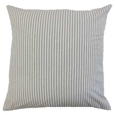 The Pillow Collection Stripe Decorative Pillow - Grey - 18x18 - With Insert - Target