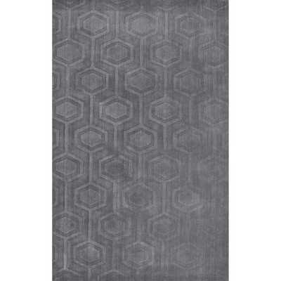 nuLOOM Handmade Carved Hexagon Wool Grey Rug - Overstock