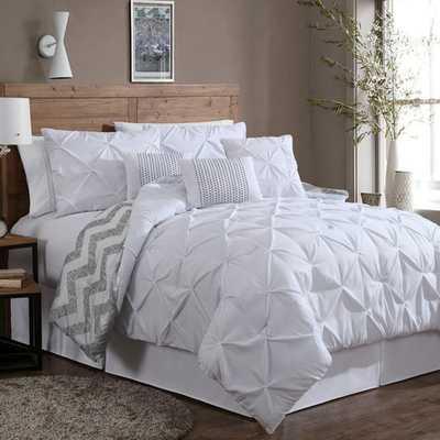 Ella 7 Piece Reversible Comforter Set - White - AllModern