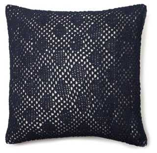 "Diamond Crochet Dec Pillow, Indigo - 18"" - Insert Sold Separately - One Kings Lane"