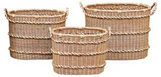 S/3 Wicker Baskets w/ Bankuan Rope Trim - One Kings Lane