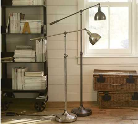 Cole Task Floor Lamp- Antique Silver - Pottery Barn