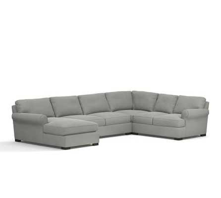 TOWNSEND UPHOLSTERED 4-PIECE SECTIONAL WITH CHAISE - Right Arm - Pottery Barn