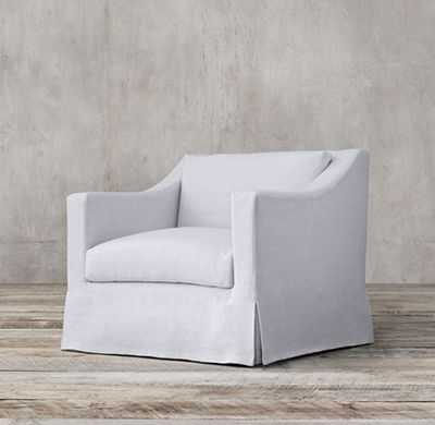 THE PETITE BELGIAN CLASSIC SLOPE ARM SLIPCOVERED CHAIR - RH