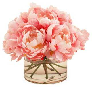 "10"" Peonies in Cylinder Vase, Faux - One Kings Lane"