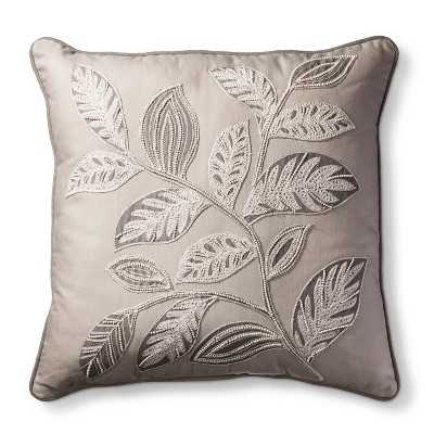 "Leaf Embroidery Decorative Pillow - Brown - 18"" x 18"" - Polyester fill - Target"