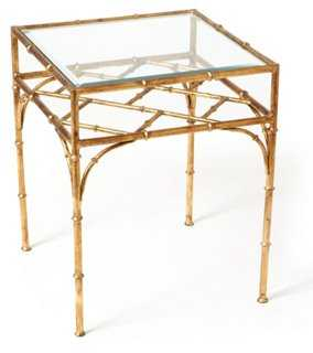 Woodmont Glass-Top Side Table - One Kings Lane