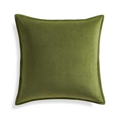 """Brenner Leaf Green 20"""" Velvet Pillow- Down-Alternative Insert - Crate and Barrel"""