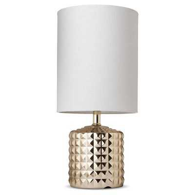 Gold Plated Geometric Ceramic Table Lamp - Target