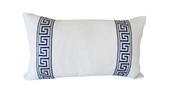 Greek Key Embroidered Decorative Pillow Cover - 14x24 - No Insert - Etsy