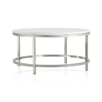Era Limestone Round Coffee Table - Crate and Barrel