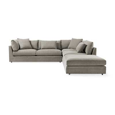 "Pavo 132"" Three Piece Upholstered  Left Sectional In Vale Platinum - Arhaus"