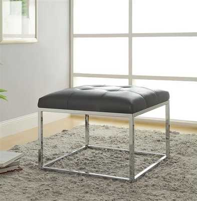 Contemporary Charcoal Leatherette Metal Ottoman - theclassyhome.com