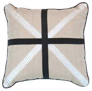 Union 18x18 Linen Pillow, Black - One Kings Lane