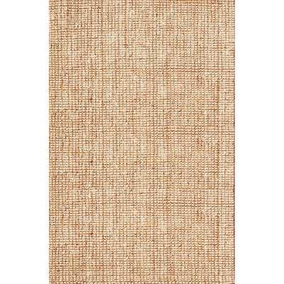 Naturals Solid Pattern Ivory/White Jute Area Rug (10' x 14') - Overstock