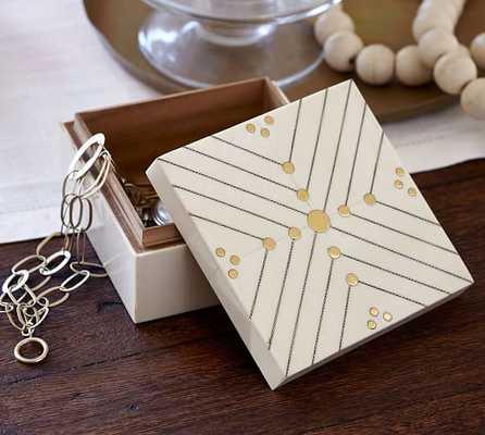 Ivory Gold Dot Inlay Box - Pottery Barn