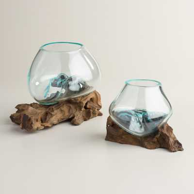 Driftwood and Blown Glass Bowl - Large - World Market/Cost Plus