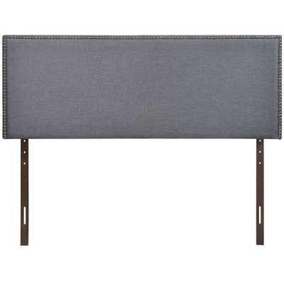 REGION QUEEN NAILHEAD UPHOLSTERED HEADBOARD IN SMOKE - Modway Furniture