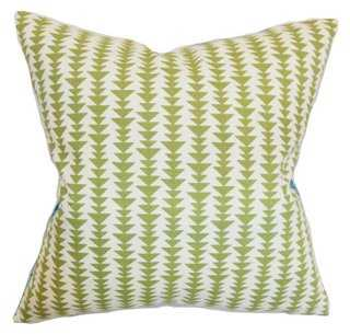 Jiri 18x18 Pillow, Green - Insert down/feathers - One Kings Lane