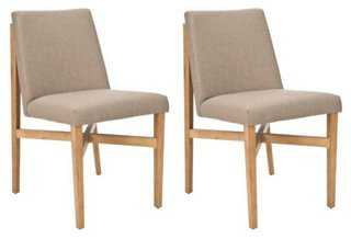 Taupe Duncan Side Chairs, Pair - One Kings Lane