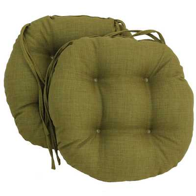 Blazing Needles 16x16-inch Round Outdoor Chair Cushions (Set of 2)-Lime - Overstock