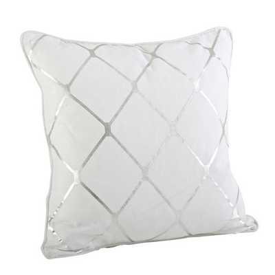 "Greta Metallic Diamond Cotton Throw Pillow - 20"" H x 20"" W x 6"" D- Silver- Down/Feather fill insert - AllModern"