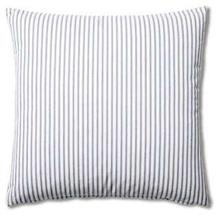 Ticking 20x20 Cotton Pillow, Blue - insert, down/feather - One Kings Lane