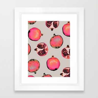 "Pomegranate Pattern-FRAMED ART PRINT/VECTOR WHITE MINI (10"" X 12"") - Society6"