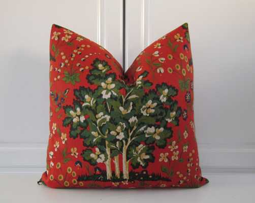 """Red Orange Pillow Cover- Medieval Harvest-20""""-without insert - Etsy"""