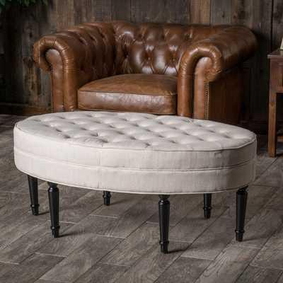 Fielding Light Beige Fabric Oval Ottoman - Overstock