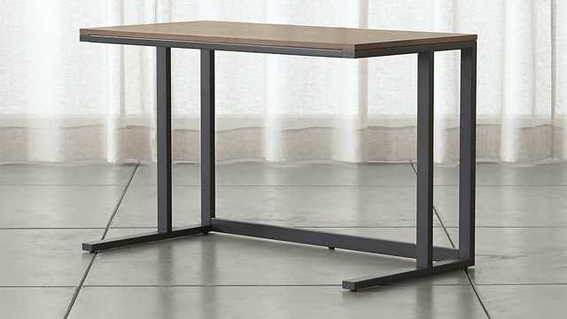 Pilsen Graphite Desk with Walnut Top - Crate and Barrel