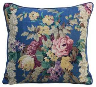 Printed Linen Floral Pillow 18x18 with insert - One Kings Lane