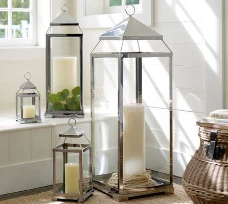 Malta  Lantern -Silver Finish-Small - Pottery Barn