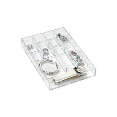 Small 12-Section Acrylic Stacking Tray Clear - containerstore.com