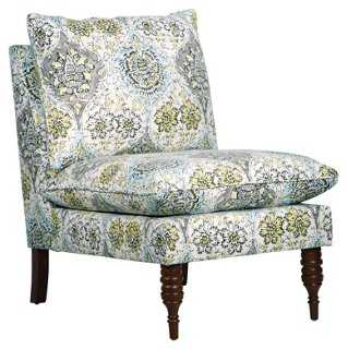 Bacall Slipper Chair, Blue Medallion - One Kings Lane
