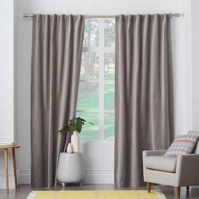"Velvet Pole Pocket Curtain - Dove Gray - Blackout Lining - 108""L - West Elm"
