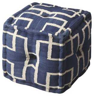 Ahalo Square Pouf, Navy/Cream - One Kings Lane