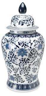 "24"" Floral Ginger Jar, Blue/White - One Kings Lane"