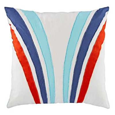 "Pit Crew Stripe Throw Pillow - 16""Wx16""H - Polyester fill - Land of Nod"