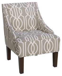 Fletcher Swoop-Arm Chair, Taupe Art Deco - One Kings Lane