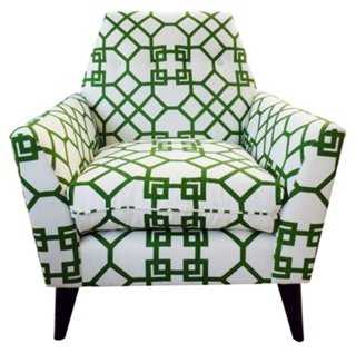 Porter Linen Chair, Green/White - One Kings Lane