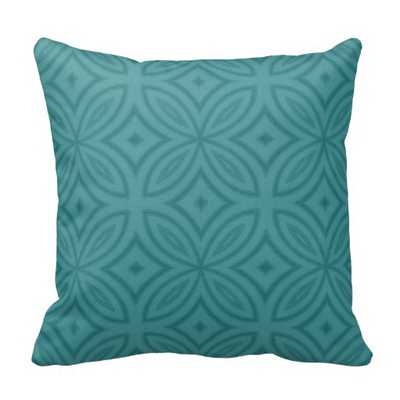 "Teal blue geometric flower pillow -  20"" x 20"" with insert - zazzle.com"