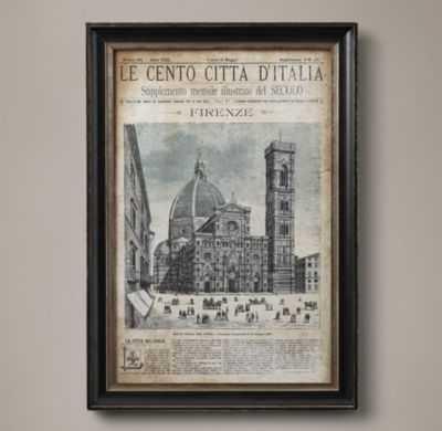 """VINTAGE ITALIAN NEWSPAPER - FIRENZE FULL COVER - 17½""""W x 25¼""""H - framed - RH"""