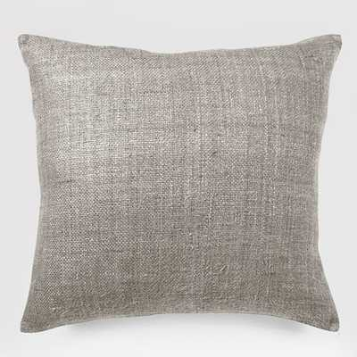 "Silk Hand-Loomed Pillow Cover - 20""sq. - Platinum - Without insert - West Elm"